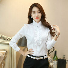 Lady Ruffle Collar Shirt Chiffon High Neck Button Frill Victorian Blouse Top Dot