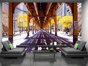 Chicago Street Wall Mural Photo Wallpaper GIANT DECOR Paper Poster Free Paste