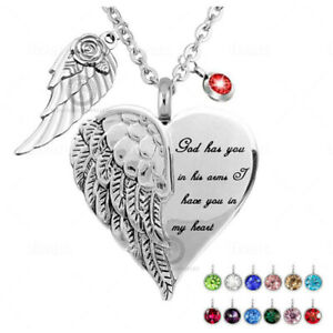 Urn Angel Wings Cremation Ashes Necklace Memorial Jewellery Pendant Keepsake