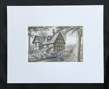 """At The End Of The Village original mounted art print 10""""x8"""" G.Burgess Cornwall"""