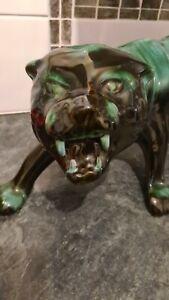Rare Blue Mountain Petrol Blue Jaguar Ceramic Figurine