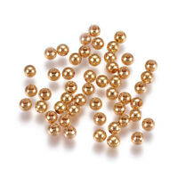 50pcs Brass Round Metal Beads Smooth Real 18K Gold Plated Seamless Spacers 4mm