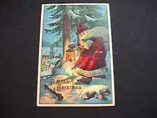 SANTA WITH LANTERN EMBOSSED MERRY CHRISTMAS POSTCARD