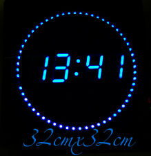 LED digital Wall clock with date- & temperature display noiselessly in Blue