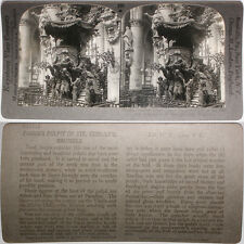 Keystone Stereoview the Pulpit of St. Gudule's, BELGIUM From RARE 1200 Card Set