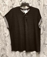 fd8d970175b BLACK GRAY MARLED LACE-UP STRETCH KNIT CUFF SLEEVE TOP T-SHIRT BLOUSE~