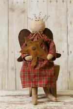 Country Primitive Sitting Angel Holding A Star