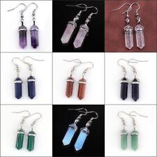 Natural Amethyst Rose Quartz Opal Gemstone Hexagon Dangle Hool Women's Earrings