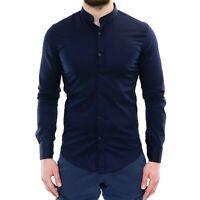 Camicia Uomo Collo Coreana Slim Fit Serafino Blu Cotone Casual Elegante