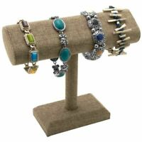 Modern Burlap  Bracelet Watch Jewelry T Bar T Stand Display Holder