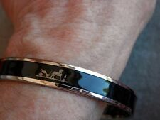 "HERMES BLACK ENAMEL ""CALECHE"" NARROW BANGLE BRACELET, GENUINE, W/BOX"