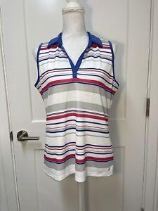IZOD GOLF  Women's Sleeveless Purple/White/Pink Stripe Polo Shirt. Size Large