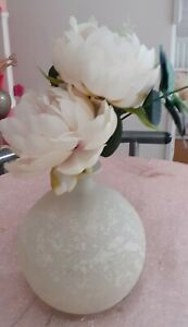 PRETTY WHITE  BUD VASE WITH FROSTED EFFECT AND  PINK PEONIES  5 X 5 INCHES