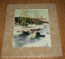 Art Print Foam Board Cut Mat Outdoor Winter Scene Horse Drawn Sleigh On Bridge