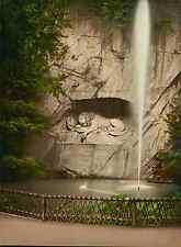 a. Luzern. Löwendenkmal mit Springbrunnen.   PZ vintage photochromie, photochrom