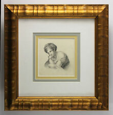 "Stunning ORIGINAL 1800s English Master Drawing ""The Dreamer"" GALLERY FRAMED COA"