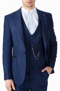 Peaky Blinders Style - Blue Herringbone Tweed 3 Piece Suit with Patch Pockets