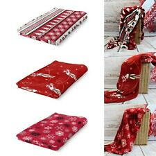 Christmas Fleece Throw Blankets Snowflake Reindeer Cosy Warm Sofa Bed Red Throws