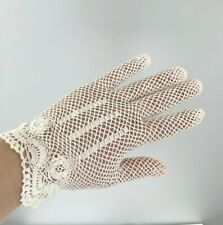 1950s Vintage Off White French Crochet Woven Lace Dress Costume Victorian Gloves