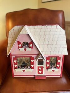 Vtg Wood Sweetheart Cottage Dollhouse Assembled Completed Furnished 50+ Pieces
