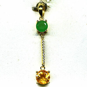 NATURAL 7 mm. GOLDEN YELLOW CITRINE & GREEN EMERALD PENDANT 925 STERLING SILVER