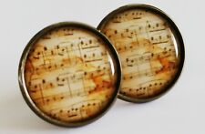 Music Earrings Antique Bronze Studs Jewellery Musical Notes Musician NEW