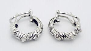 "JUDITH RIPKA Omega Back Appx: 3/4"" Diameter Hoop Earrings in Sterling Silver"