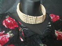 Vintage Signed Carolee 5 Strand Faux Pearl Rhinestone Choker Necklace