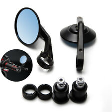 2x Round Motorcycle Bar End Plug Mirrors Rearview Side Black Cafe Racer Mirrors