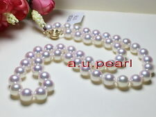 """AAAAA 18""""10-11mm round REAL natural south sea white pearl necklace 14K 585 GOLD"""