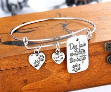 Fashion Women Dog Tag Paw Bangle Charm Bracelet Family Jewelry Friends
