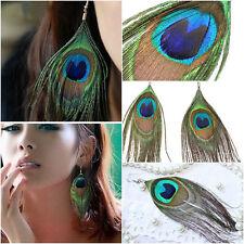 Fashion Women Peacock Feather Earrings Dangle Bohemian Long Jewelry Gift Hook