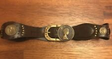 Cintura donna cinta marrone con borchie e monete scamosciata