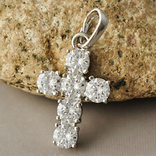 Womens Silver Plated Clear 6 CZ Cross Small Pendant Fit Chain Necklace