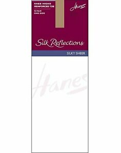 Hanes Silk Reflections Reinforced Toe Knee High Stockings 6-Pack Cool Comfort