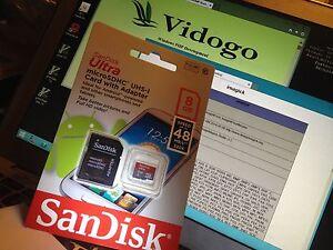 VidoGo PHP preloaded on a Windows SanDisk Micro SD card plus standard SD Adaptor