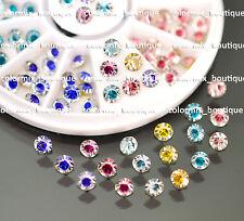 #R65 Nail Art Decoration Sharp Bottom 6 Color 4mm Diamond Cut Glitter Rhinestone