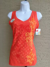 NWT Hanes 2X Cotton Jersey V Neck Wide Strap Graphic Tank Top Coral Sunset