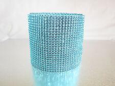 Aqua Blue Diamond Rhinestone Mesh Ribbon Crystal Wrap