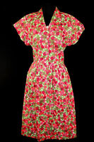 EXCEPTIONAL DEADSTOCK VINTAGE 1950'S VIVID FLORAL COTTON PRINT DRESS SIZE 10-12