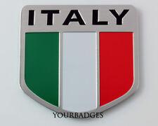 Nuevo Aluminio Cepillado bandera italiana Italia Coche Insignia FÍAT Alfa
