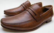 MENS KENNETH COLE PLUG OF WAR BROWN TAN LEATHER LOAFER DRESS SHOES SZ 9.5~1/2 M