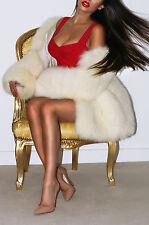 ELEGANT Lusso Bianco Polare Blu Reale SAGA Fox pelliccia giacca M PURA chic!