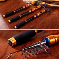 Portable Carbon Telescopic Saltwater Fishing Rod Extendable Poles Travel