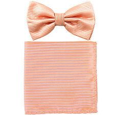New formal men's pre tied Bow tie & Pocket Square Hankie stripes peach wedding