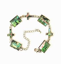 New Zealand Paua Abalone Shell Square Cross Link Chain Bracelet