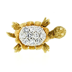 Vintage Petite 18K Yellow & White Gold 1.0ctw Diamond Textured Turtle Pin Brooch