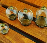 2 pcs Empty Sample Vials Clear Tiny Mini Glass Bottles Pendants Accessories