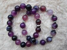 Purple Striped Agate Bracelets With or Without Tibetan Silver Spacer - 10.4 mm.