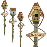 Wood 70cm Welcome Sign Garden Push In Spike Bird Feeder Lawn Decorative Plaque